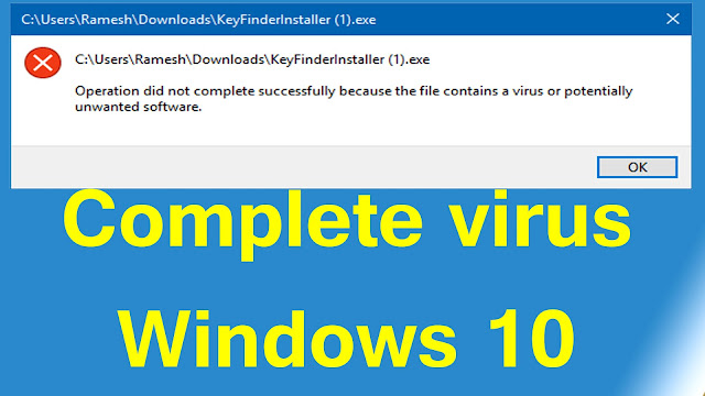 operation did not complete virus windows 10 disable