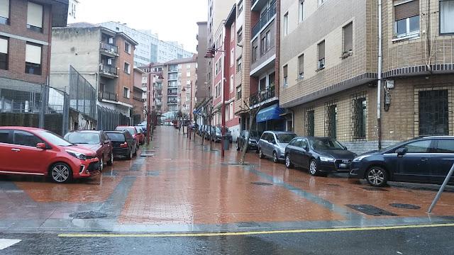 turismos aparcados en calle peatonal