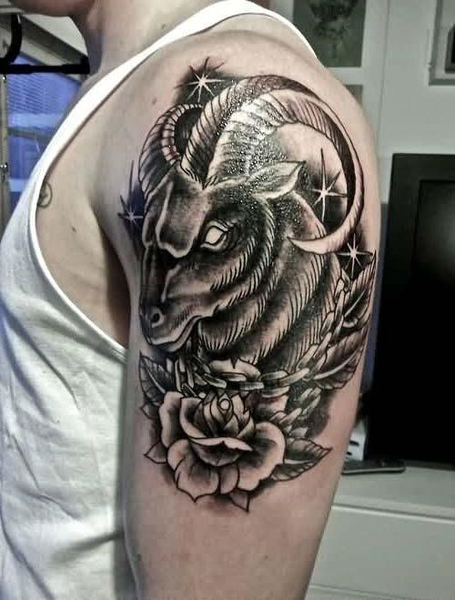 erkek üst kol keçi dövmesi goat tattoo for arm