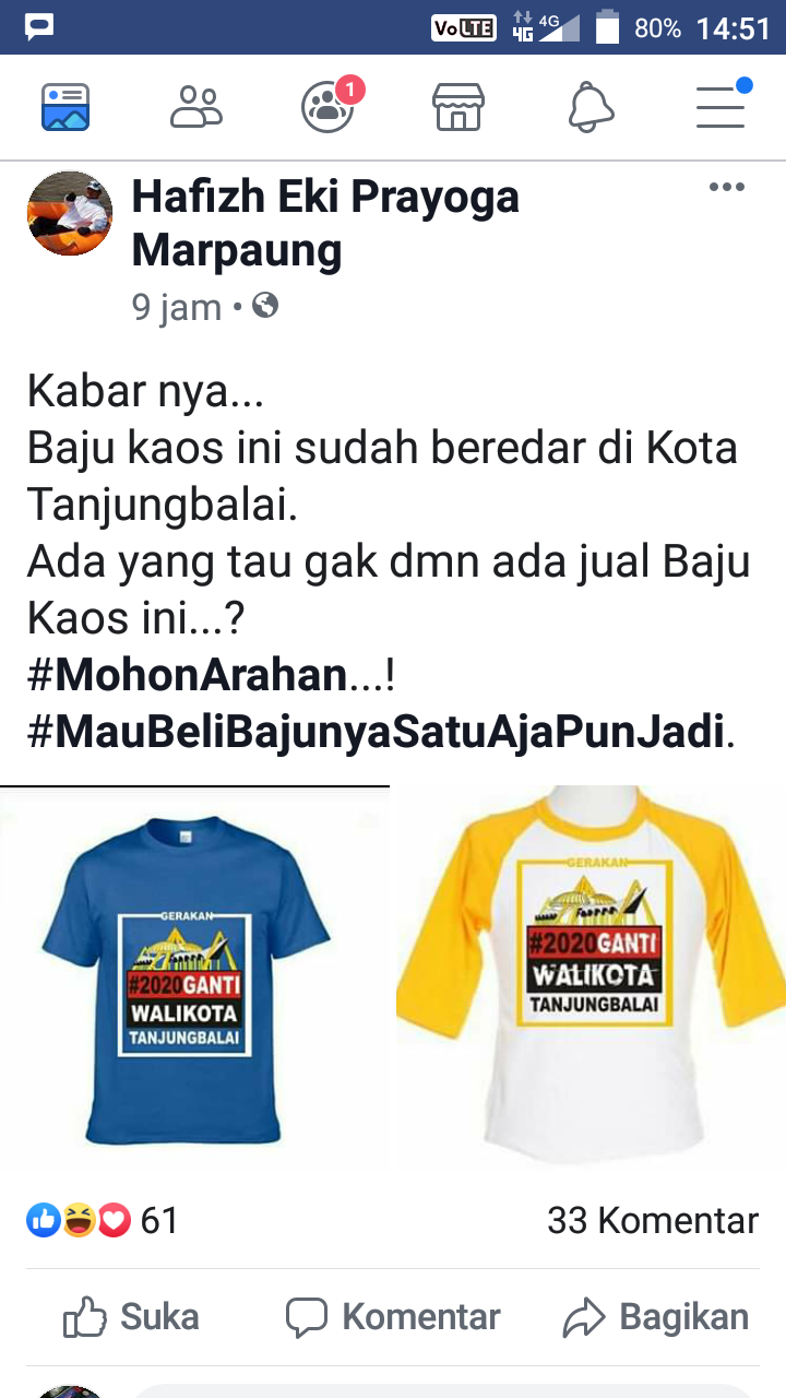 Postingan di akun Facebook yang menyerukan ganti Walikota Tanjungbalai.