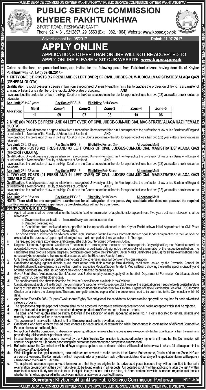 Jobs In Khyber Pakhtunkhwa Public Service Commission KPPSC Jul 2017