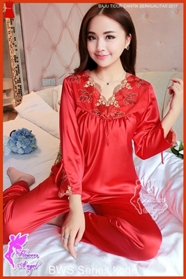 B10FWS Jual Baju Tidur Wanita Kimono Panjang Maroon