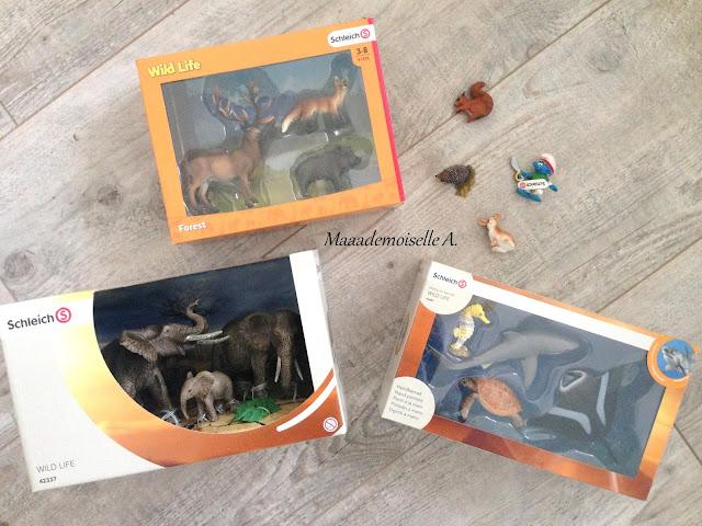 Schleich - Pack cerf, renard et sanglier - Ecureuil - Hérisson - Lapin - Pack éléphants d'Afrique - Pack animaux marins (hippocampe, requin, tortue, raie)