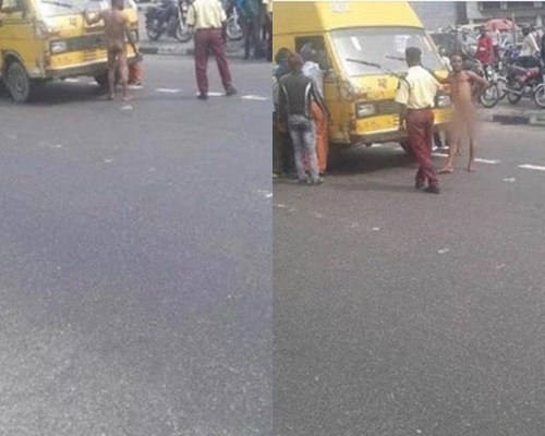 Lagos Bus Conductor Strips N*ked in Public to Avoid Arrest (Photos)