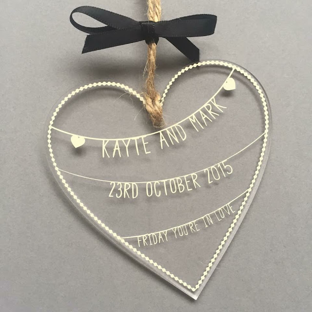 Vinyl decorated acrylic heart made by Designs By Danielle following Nadine Muir's papercut tutorial from Silhouette UK Blog