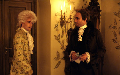 Tom Hulce as Mozart and F. Murray Abraham as Salieri in Amadeus, 1984 musical, Directed by Milos Forman