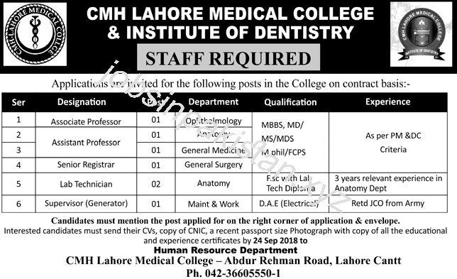 CMH Lahore Medical College & Institute of Dentistry Jobs 2018 Advertisement