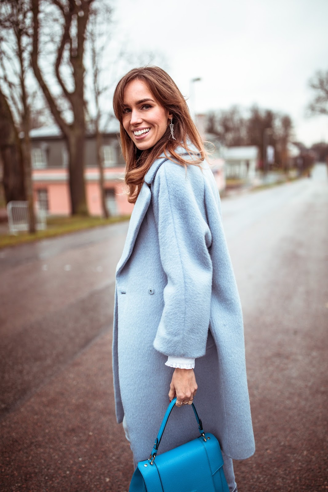 light blue cashmere coat outfit