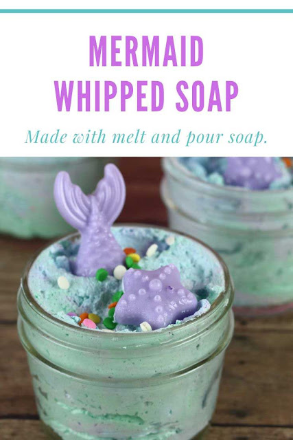 How to make fluffy whipped soap. This easy DIY recipe is made with melt and pour soap. This fun soap is made from scratch and is great for kids.  Use this mermaid foaming whipped soap as a shaving cream or as a base for a sugar scrub. Follow tutorials for soap ideas and homemade foaming soap. Packaging in jars like frosting. Add grapeseed oil for dry skin.  #soap #whippedsoap #mermaid