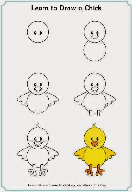 Cara Mudah Menggambar Anak Ayam Untuk Anak-Anak 1