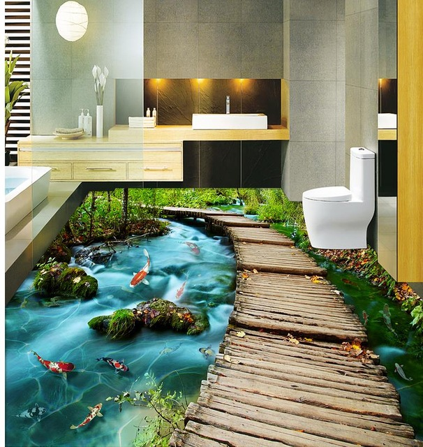 Eye catching 3d bathroom floor designs and 3d flooring art for Bathroom 3d floor designs