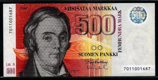 Finland money currency images 500 Finnish Markkaa Banknote