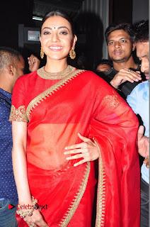 Actress Kajal Agarwal Stills in Red Saree at msavam Audio Launch 0024
