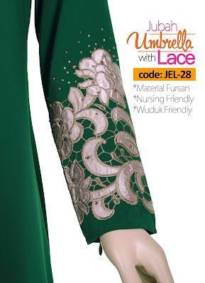 Jubah Umbrella Lace JEL-28 Green Tangan 3