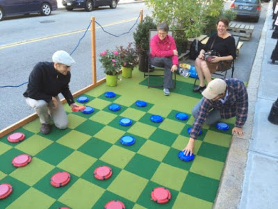 playing checkers on PARKing Day