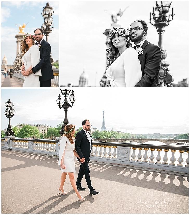 photographe mariage paris tour eiffel robe mairie 16e