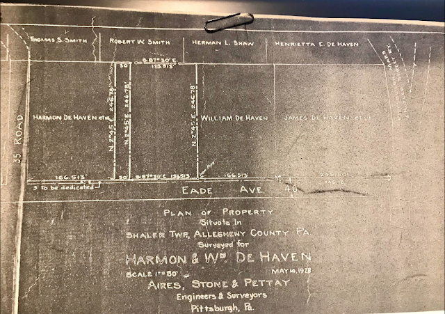 survey from 1928, showing the lots of Harmon, Wililam, and James DeHaven,on the same street