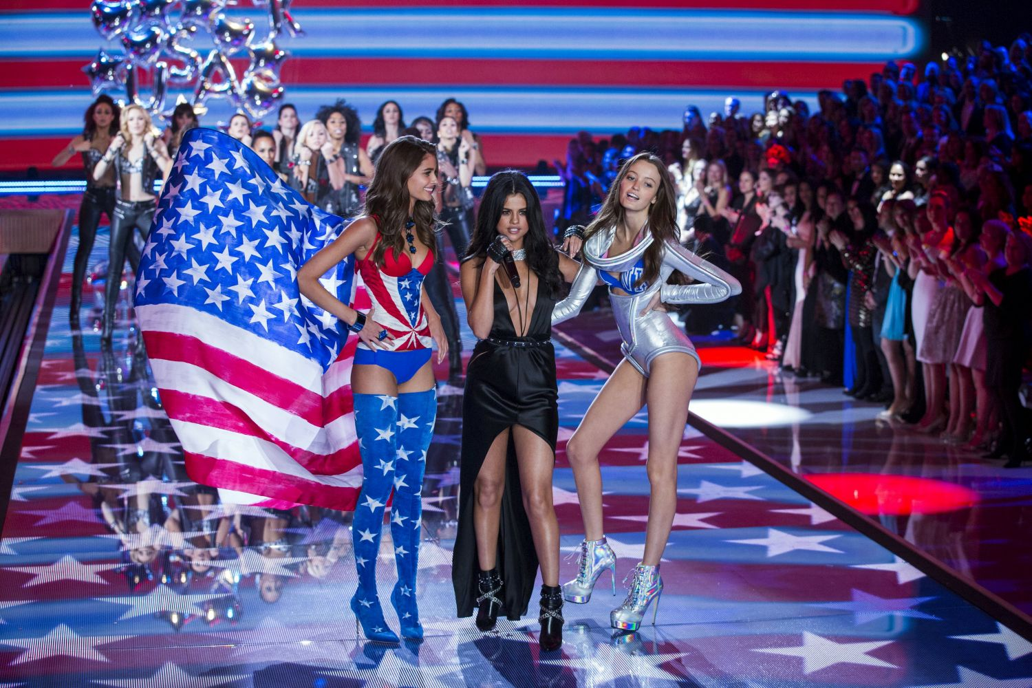 Selena Gomez joins VS models on stage during the Victoria's Secret Fashion Show