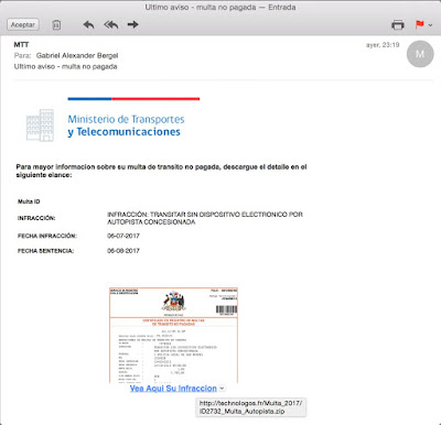 Phishing de una falsa advertencia imagen
