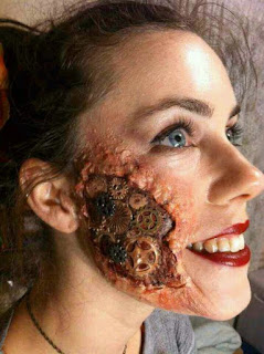 scary special fx makeup for steampunk with scars and gears, blood and gore