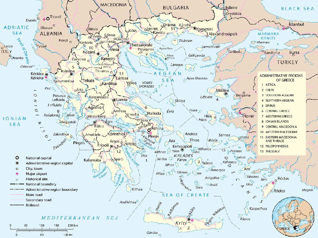 greece map in europe