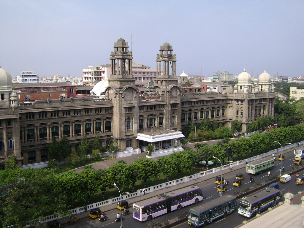 Impressive colonial building, Southern Railways HO, Chennai