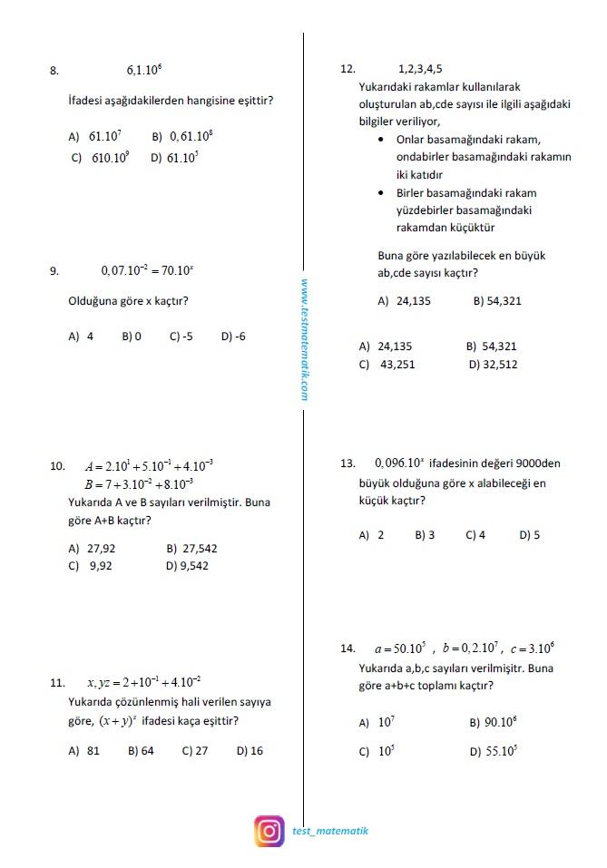8 Sinif Uslu Sayilar Test 3 Test Matematik