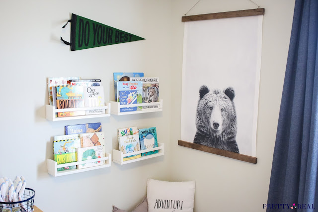 Reading Nook for a Small Bedroom with Wall Mounted Bookshelves