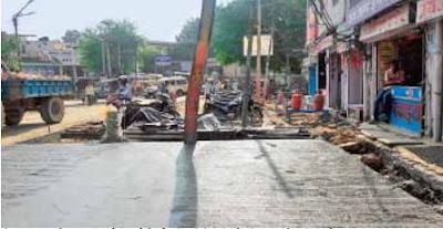 गौरव पथ निर्माण के दौरान बिगड़ी ट्रैफिक व्यवस्था, कपिल अस्पताल के सामने लग रहा जाम