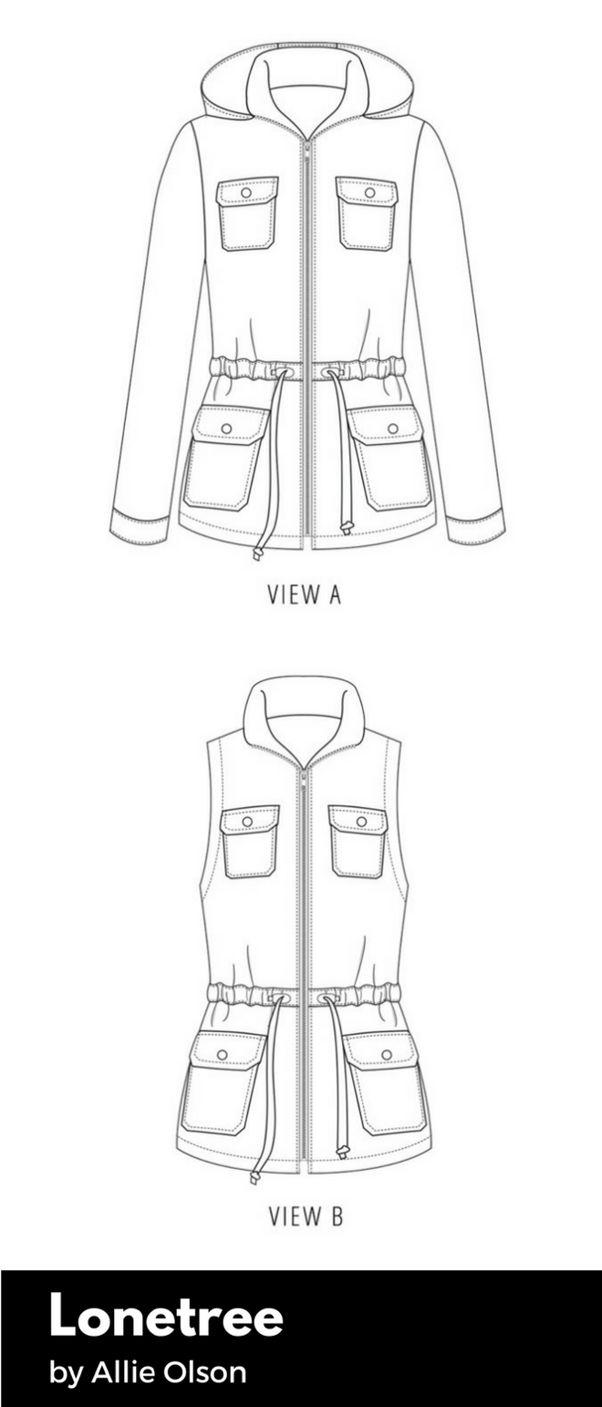 Technical drawing of the Lonetree anorak pattern.