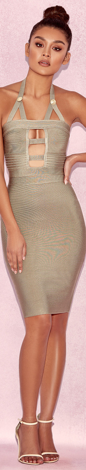 HOUSE OF CB 'LYNA' LIGHT OLIVE CUTOUT BANDAGE DRESS