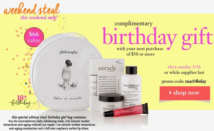 Philosophy Sale And Freebies Spend 50 Get 80 Birthday Gift Pack Reg Free Shipping