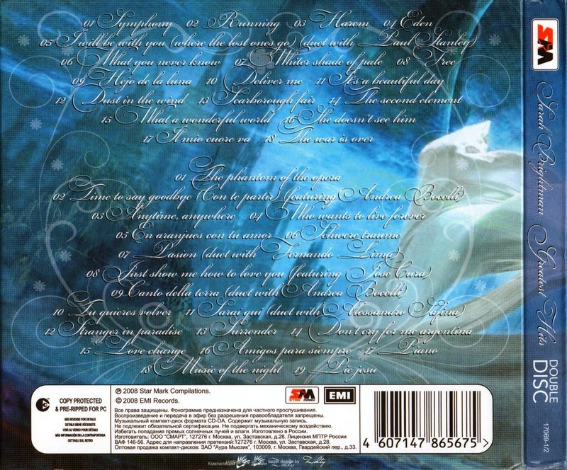 MIJAS: SARAH BRIGHTMAN - Greatest Hits (2CDs)