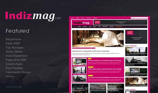 Template Blogger Premium Indizmag Valid AMP