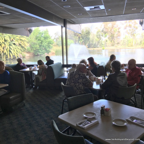 dining room and lake view at Anthony's Fish Grotto in La Mesa, California