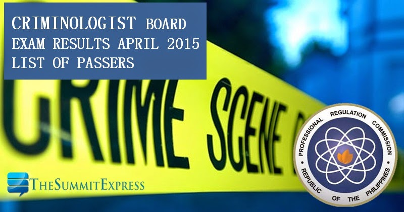 List of Passers: April 2015 Criminology board exam results