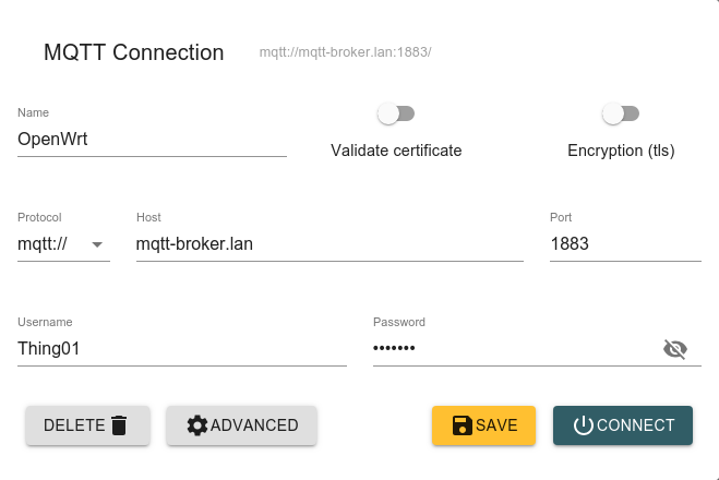 Connection settings in MQTT Explorer