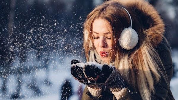 Beautiful Girl in Winter Landscape