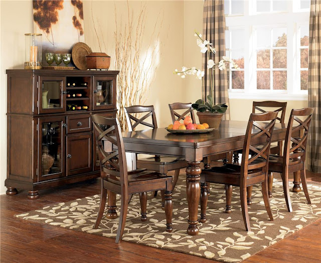 colorful dining room area rugs with wooden table and chairs plus vanity and curtain set