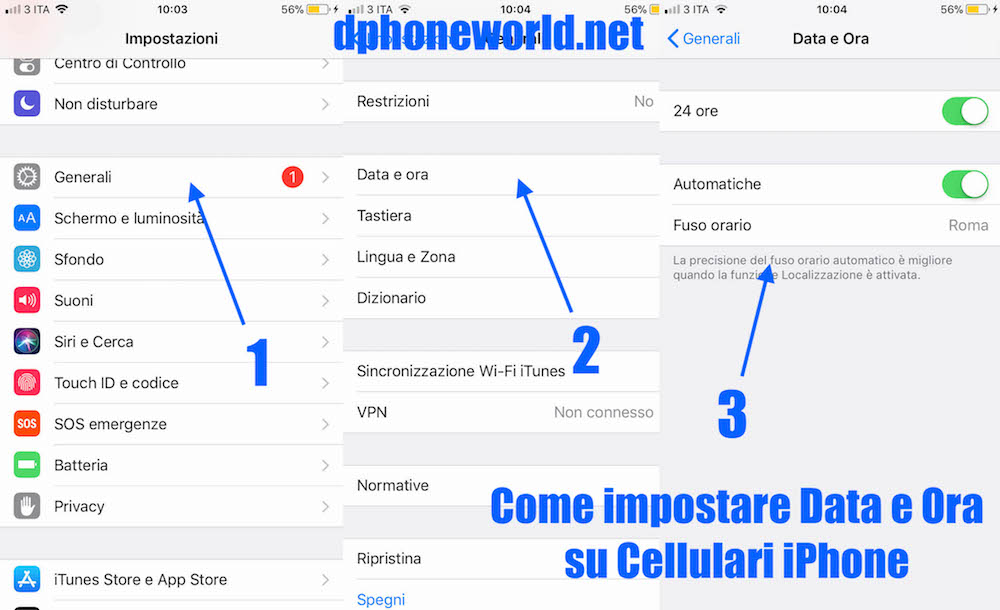 come imposare ora e data su cellulari iphone