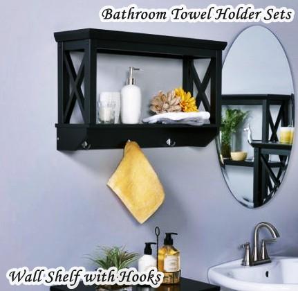 Bathroom Towel Holder Sets - Wall Shelf with Hooks