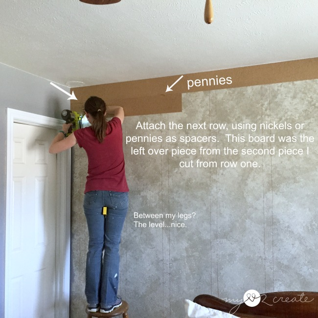 How to install a plank wall   and how to avoid the biggest mistake     using pennies as spacers for a plank wall