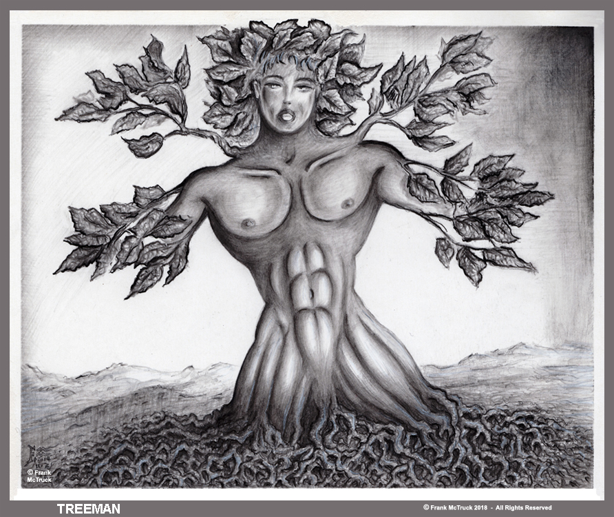 Frank McTruck pencil illustration 'Treeman'