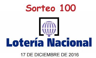 Sorteo 100 de la loteria nacional del sabado 17-12-2016