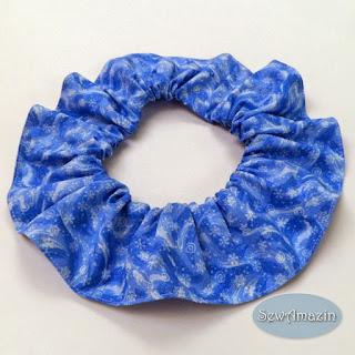 Winter Dog Scrunchie Ruffle, frozen, blue, white, snowflakes