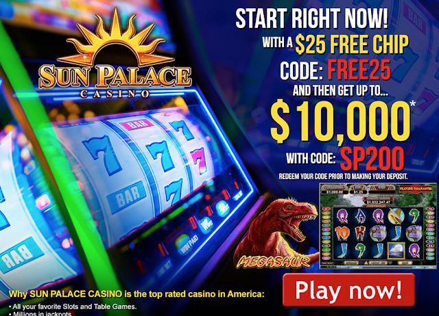 Sun Palace Casino Welcome Offer: $25 No Deposit bonus plus 200% Deposit match