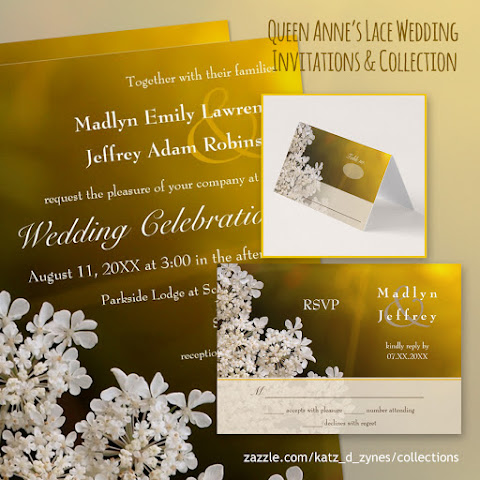 Queen Anne's Lace wildflower wedding invitations and coordinates from katzdzynes on Zazzle