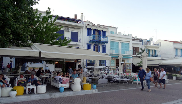 Cafe, bar and restaurant scene at the Old Port of Skiathos