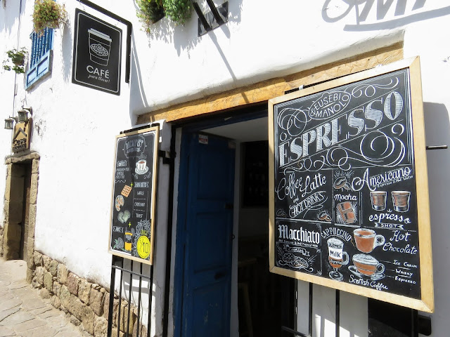 Places to eat in Cusco on a 3 day itinerary: storefront of Eusebi and Manolo coffee shop