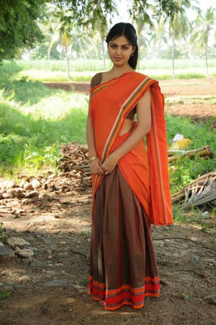 Actress Monal Gajjar Looking Homely Look In Half Saree